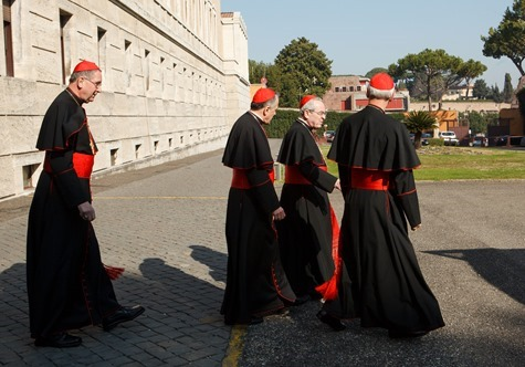Cardinals Roger Mahony, Daniel DiNardo, Justin Rigali and Donald Wuerl leave the Pontifical North American College in Rome on their way to a final meeting with Pope Benedict XVI February 28, 2013.