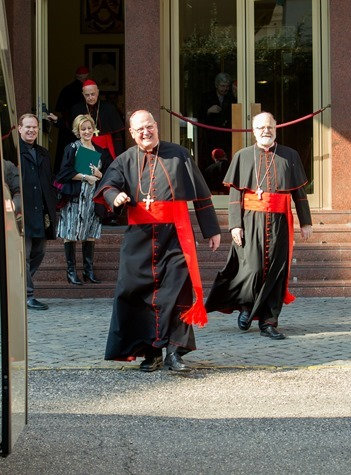 New York Cardinal Timothy Dolan and Boston Cardinal Sean O�Malley leave the Pontifical North American College in Rome on their way to a final meeting with Pope Benedict XVI February 28, 2013.