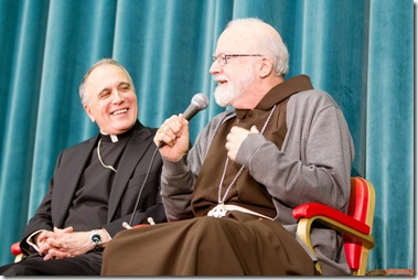 Galveston � Houston Cardinal Daniel DiNardo and Boston Cardinal Sean O'Malley answer questions for the media at the Pontifical North American College March 5, 2013.</p> <p>Pilot photo by Gregory L. Tracy